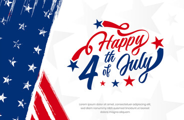 USA, America happy 4th of July custom hand-lettering, typography design with stars on grunge American vintage flag background use for sale banner, discount banner, advertisement banner etc.