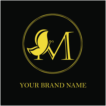 M Initial Letter Feminine Modern Simple Luxury and elegant Logo with Butterfly for Fashion, Beauty Cosmetic, Salon, Skin Care and Spa Logotype