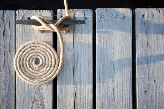 Detail of boat tie down on dock