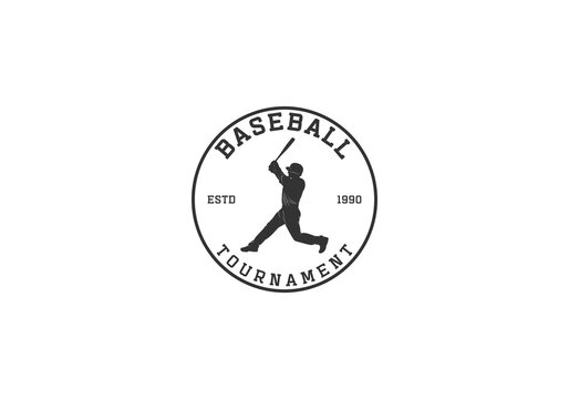 baseball logo with illustration of a player trying to hit the ball