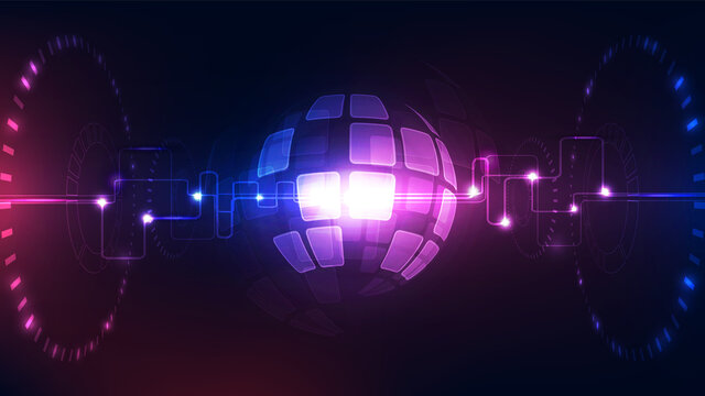 vector digital global technology concept, abstract background illustration
