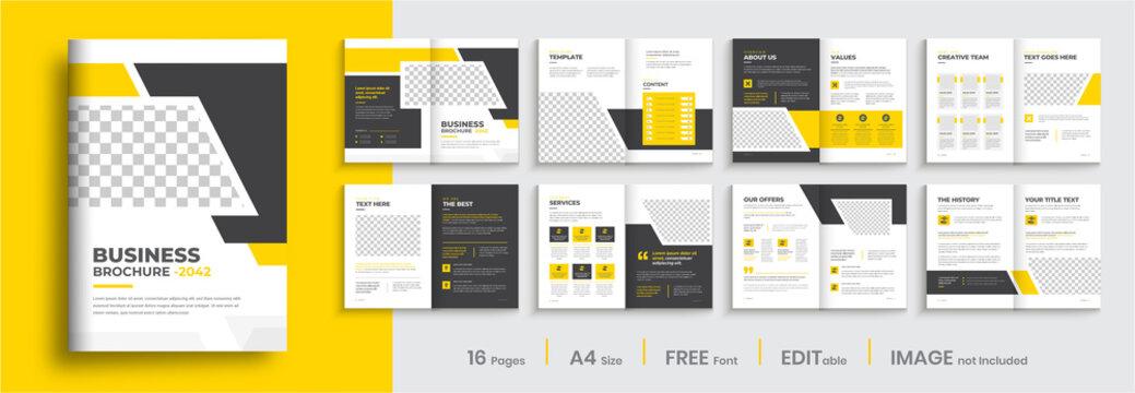 Business brochure template layout design, minimal multipage creative brochure template design, annual report, corporate company profile, editable template layout.