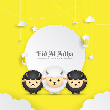 Eid Al Adha Mubarak celebration card with paper art sheep hanging on yellow background. Use for banner, poster, flyer, brochure sale template.