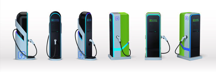 Fototapeta Car charger. Realistic electromobile charging station. View from different sides on 3D equipment set for auto accumulator recharging. Alternative fuel. Vector green energy technology obraz