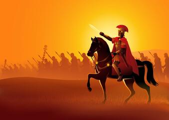 Fototapeta Gaius Julius Caesar on horseback obraz