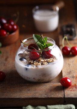 organic milk dessert with fresh berries