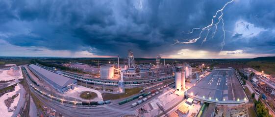 Night plant in storm and lightning - fototapety na wymiar