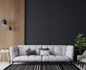 Fototapeta White sofa in cozy home interior, dark living room with wooden wall stripes, 3d render obraz
