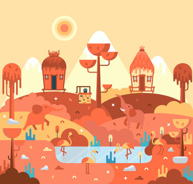 Wooden huts stand on a hill, elephants and pink flamingo, african landscape, flat cartoon illustration