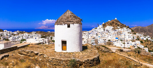 Greece travel, Cyclades. Scenic Ios island, view of picturesque Chora village and old windmills