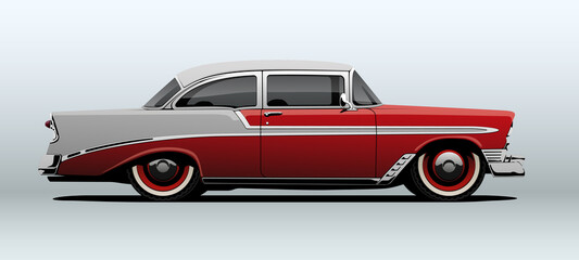 Fototapeta Red classic car, view from side, in vector.  obraz