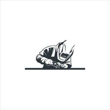 vintage silhouette man welding logo design. industry icon inspiration Image