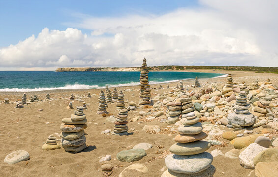 Several cairns on the beach. Akamas peninsula, Cyprus.
