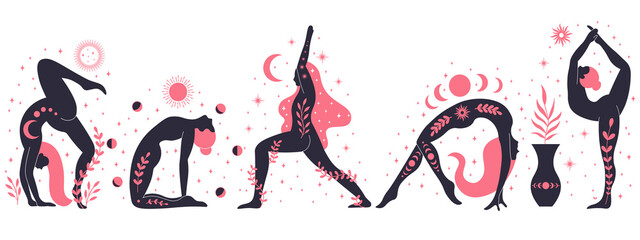 Women doing yoga, contemporary floral yoga concept illustration