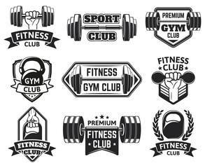 Gym labels. Sport, bodybuilding, fitness equipment symbols, vintage fitness badges silhouette vector illustration set. Wellness equipment emblems