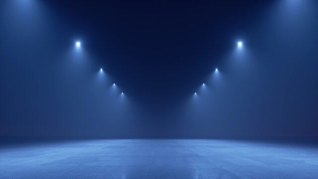 3d render. Abstract modern minimal blue background illuminated with spotlights. Showcase scene for product presentation, empty stage for performance
