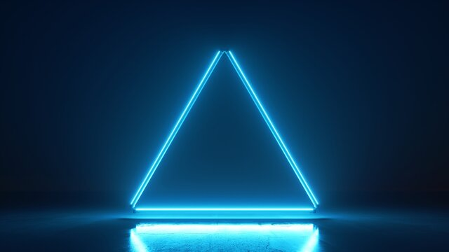 3d render, abstract neon background with blank triangular frame, fluorescent line lamps glowing with blue light