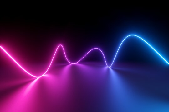 3d render, abstract pink blue neon background with wavy line glowing in ultraviolet spectrum