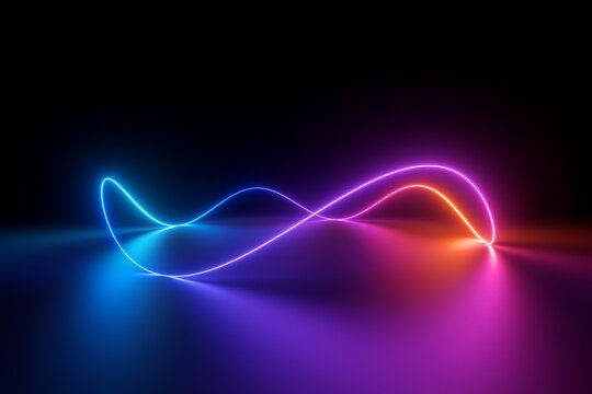 3d render, abstract background with wavy line. Glowing pink blue red neon light in ultraviolet spectrum