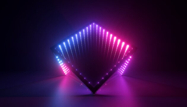 3d render, abstract background with geometric shape and pink blue neon light. Performance stage decoration illuminated with ultraviolet light