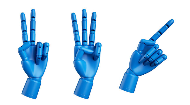 3d render, blue dummy mannequin hand, mechanical robot manipulator, set of assorted gestures isolated on white background, artificial body part prosthesis
