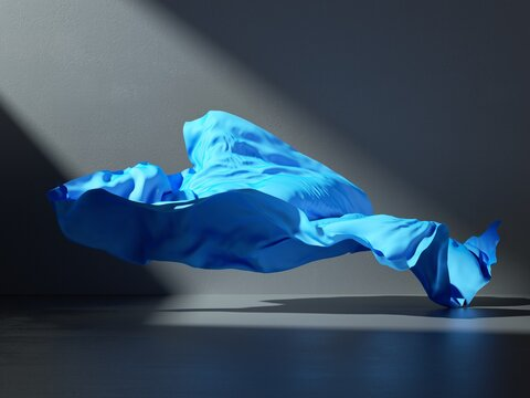 3d render. Abstract fashion background with blue drapery falling on the floor inside the dark room illuminated with light. Silk textile is blown away by the wind