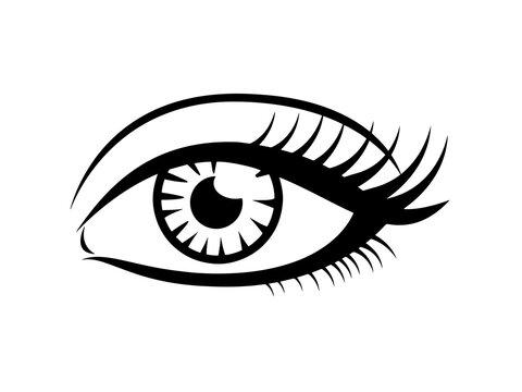 Eyelashes icon, black vector on white. Female eye glamour icon.