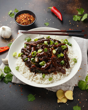 Mongolian beef stewed in dark soy sauce with spices. Asian style food