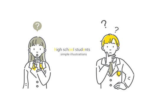 考える高校生のシンプルでお洒落な線画イラスト 男女セット
