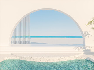Obraz Summer scene with geometrical forms, arch with a podium in natural day light. sea view. 3D rendering background. - fototapety do salonu