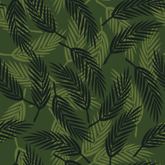 Seamless vector leaves on a dark background. Print for clothes. Fern leaves.