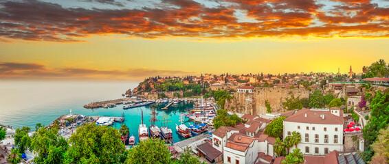 Beautiful view of the Antalya Kaleiçi Old town (Kaleici) in Antalya, Turkey