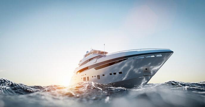 Luxury motor yacht on the ocean