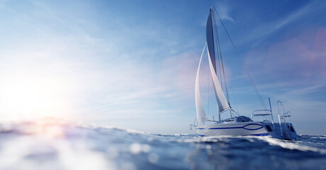Fototapeta Sailing yacht on the ocean obraz