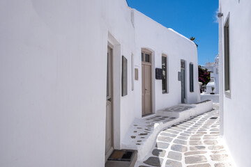 Mykonos, Greece. Traditional whitewashed buildings and narrow streets,