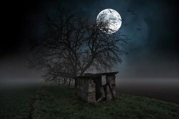 mroczny obraz starej chaty w nocy z pełnią księżyca