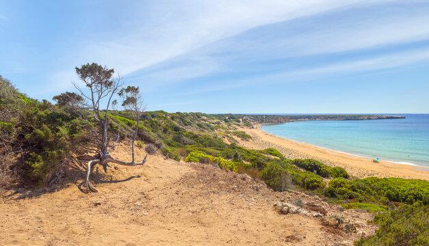 Picturesque landscape overlooking Lara beach. Akamas peninsula, Cyprus.