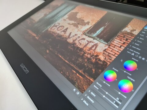 editing a picture on Adobe Photoshop on Wacom One tablet