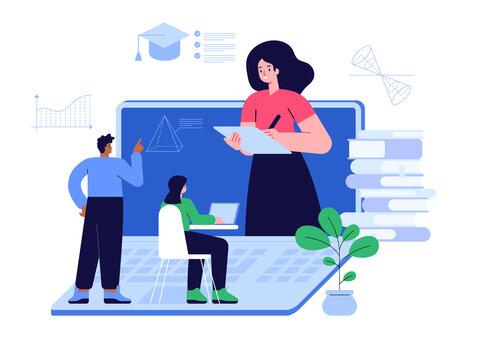 Online education scene concept. Teacher teaches subject