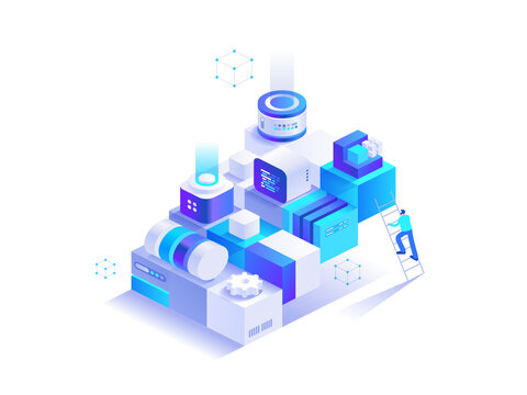Cryptocurrency technology isometric abstract concept
