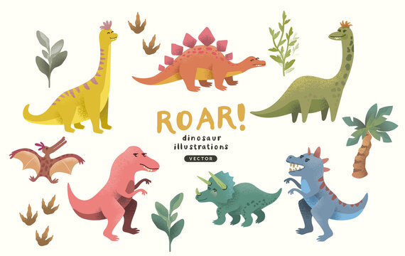 A collection of cute and colourful happy dinosaur character decorations. Vector illustration.