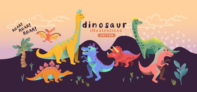 Illustrated colourful and happy dinosaur cute characters. Vector illustration.
