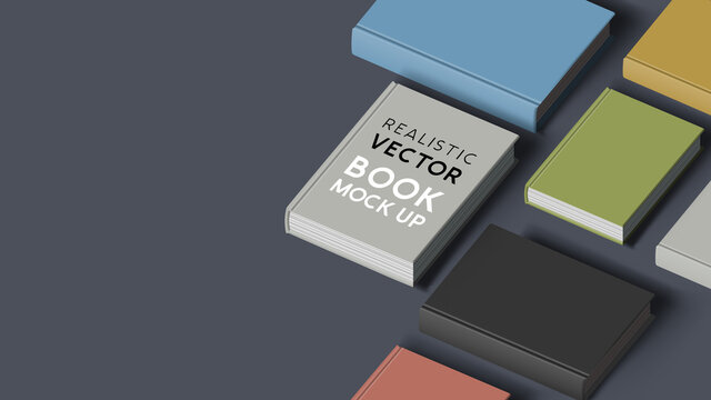 Rows of hardcover blank books. E-book and marketing mock up composition, vector illustration.