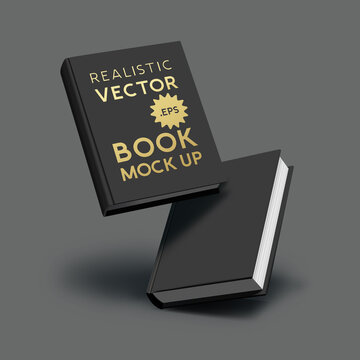 A set of blank realistic mock up black hardcover books with shadows. Branding and marketing vector illustration.