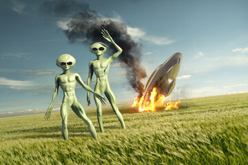 Obraz Vintage Flying saucer UFO crash site with green aliens. Classified extra-terrestrial life on Earth. 3D illustration - fototapety do salonu