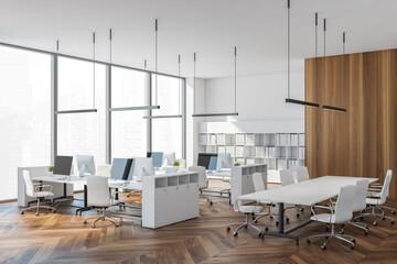 Fototapeta Panoramic white open space office with meeting room corner obraz