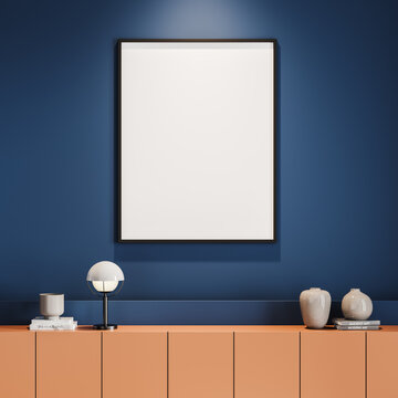 Blue living room interior, orange cabinet and vertical poster template