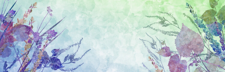 Obraz Flowers and leaves in floral background design, illustration of wildflowers, abstract watercolor paint and grunge texture, nature plants in pink blue and purple colors on soft blue green background - fototapety do salonu