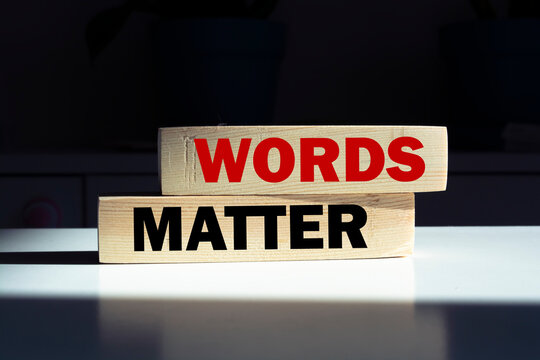 WORDS MATTER. The text is on the light cubes. Bright solution for business, financial, marketing concept