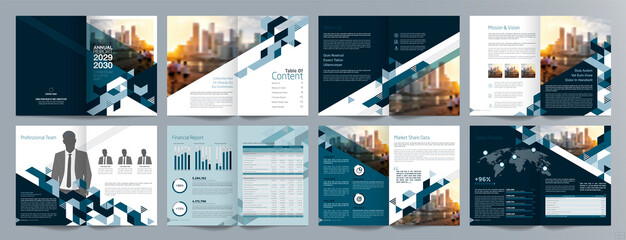 Corporate business presentation guide brochure template, Annual report, 16 page minimalist flat geometric business brochure design template, A4 size. - fototapety na wymiar
